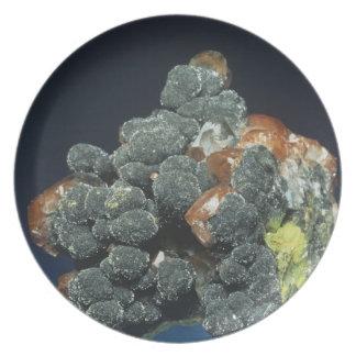 Descloizite on Calcite Plate