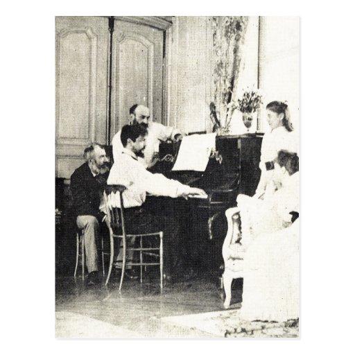 Descri??o Claude Debussy ao piano no ver?o de 1893 Post Card