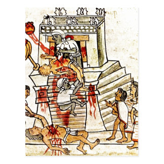 Description Aztec ritual human sacrifice portrayed Postcard