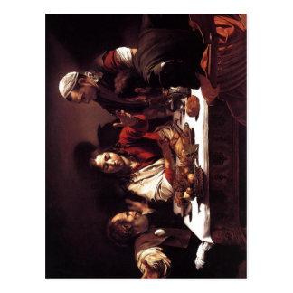 Description Michelangelo da Caravaggio Supper at E Postcard