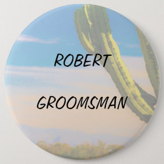 Desert Cactus Blue Sky Groomsman 6 Cm Round Badge