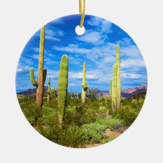 Desert cactus landscape, Arizona Christmas Ornament