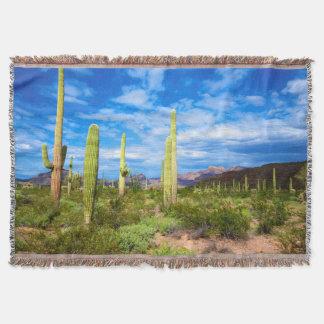 Desert cactus landscape, Arizona Throw Blanket