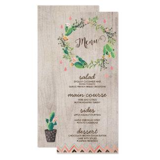 Desert Cactus Painted Rustic Wedding Menu Cards