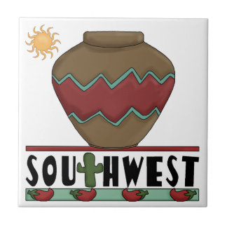 Desert Cactus, Red Chilis, Pottery - Southwest Small Square Tile