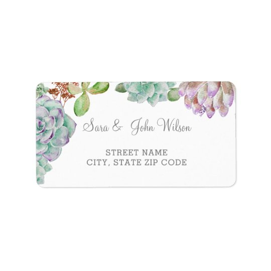 Desert Cactus Succulents Wedding address labels