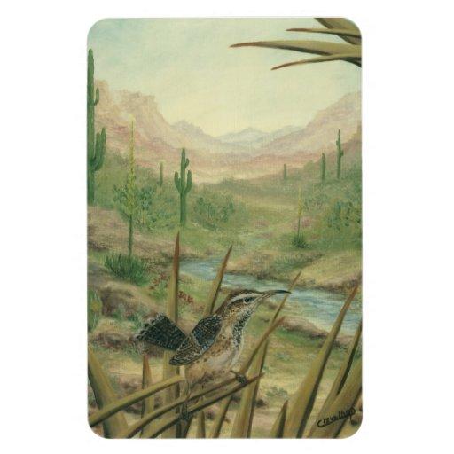 Desert Cactus Wren Bird Magnet