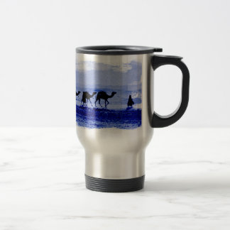 Desert Camel Caravan Blue Aluminum Travel Mug