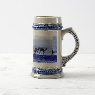 Desert Camel Caravan Blue Ceramic Stein Beer Steins