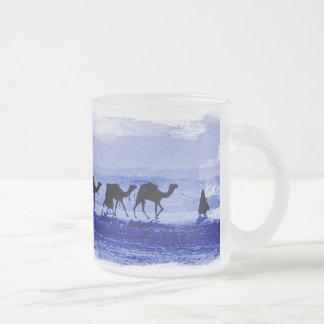 Desert Camel Caravan Blue Frosted Glass Mug