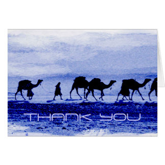 Desert Camel Caravan Blue Thank You Note Card