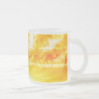 Desert Camel Caravan Sunburst Frosted Glass Mug