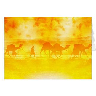 Desert Camel Caravan Sunburst Note Card