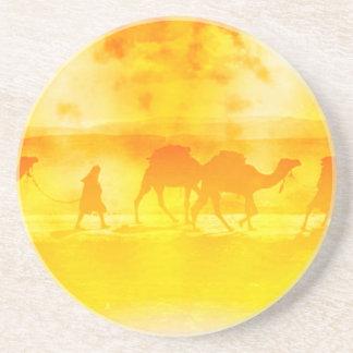 Desert Camel Caravan Sunburst Sandstone Coaster