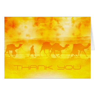 Desert Camel Caravan Sunburst Thank You Note Card