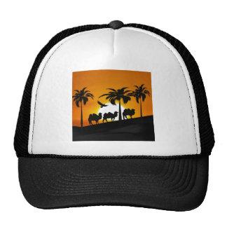 Desert Camels at sunset Mesh Hats