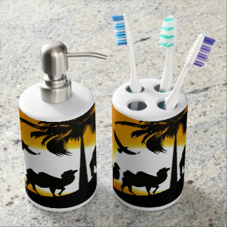 Desert Camels at sunset Soap Dispenser And Toothbrush Holder