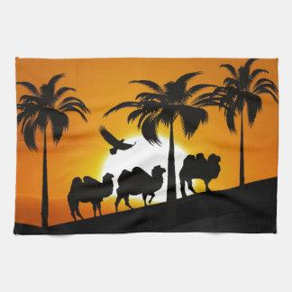 Desert Camels at sunset Tea Towel