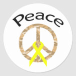 Desert Camo Peace Ribbon & Word Round Sticker