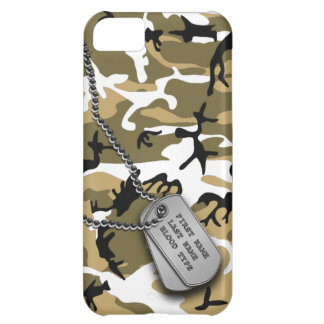 Desert Camo w/ Dog Tags Cover For iPhone 5C