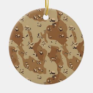 Desert Camouflage Background Template Round Ceramic Decoration