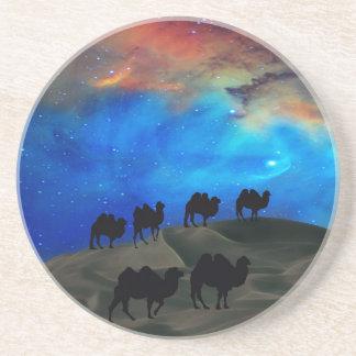 Desert caravan camels beverage coaster