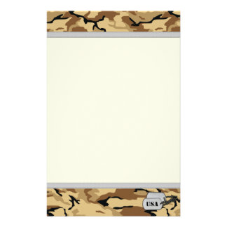 Desert Color Camo Stationery Paper