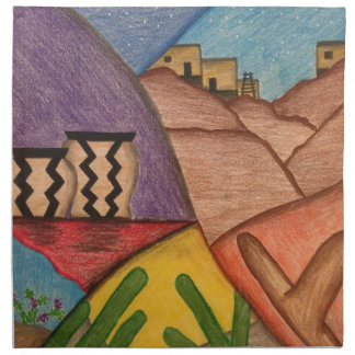 Desert Dance Southwest Collage Folk Art Napkin