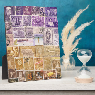 Desert Dusk Desk Art Accessory, Postage Stamp Art Plaque