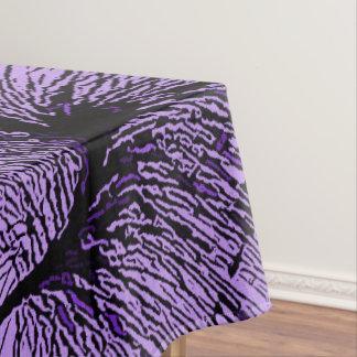 Desert flora, black flowers purple fabric pattern tablecloth