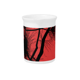 Desert flora stencil flowers at night pattern dark pitcher