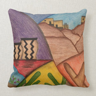 Desert Folk Art Southwestern Throw Pillow
