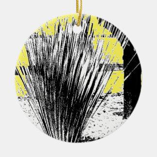 Desert Grass Plant Round Ceramic Decoration