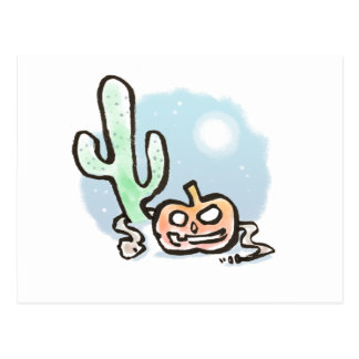 Desert Halloween Pumpkin Postcard