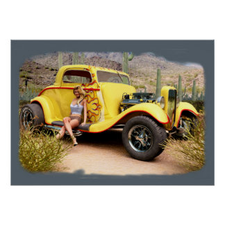 Desert Hot Rod Pinup Poster