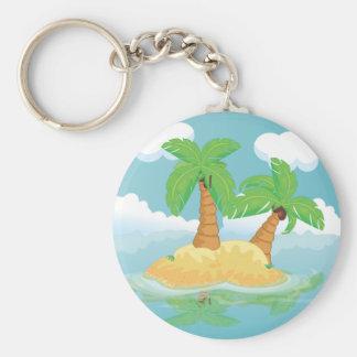 Desert Island Basic Round Button Key Ring
