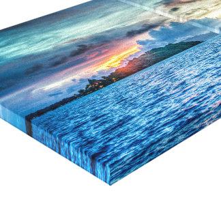 Desert island sunset. canvas print