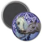 Desert Jewels Arabian horses round magnet