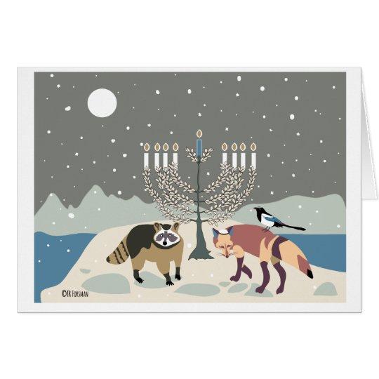 Desert Life Hanukkah: racoon, magpie and fox Card