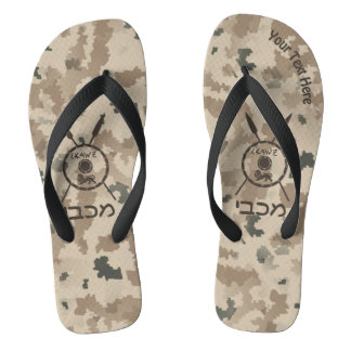 Desert Maccabee Shield And Spears Flip Flops