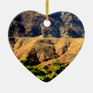 DESERT MOUNTAINS.AWESOME .MULTIPLE ITEMS Double-Sided HEART CERAMIC CHRISTMAS ORNAMENT