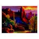Desert Painted by Sunset Poster