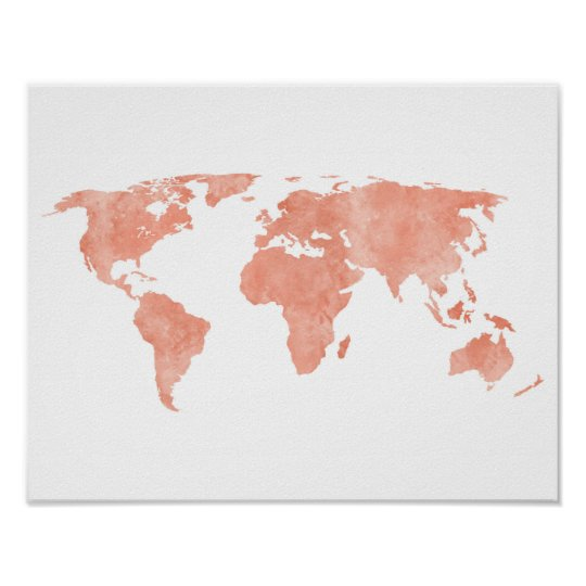 Pink world map art posters framed artwork zazzle desert pink watercolor world map poster gumiabroncs Image collections