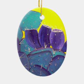 Desert Prickly Pear with Fruit Ceramic Oval Decoration