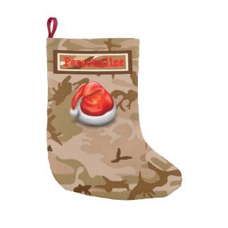 Desert Sand Camo Christmas Stocking with Santa Hat