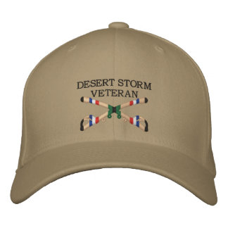 Desert Storm Veteran Cavalry Crossed Sabers Hat Embroidered Baseball Caps