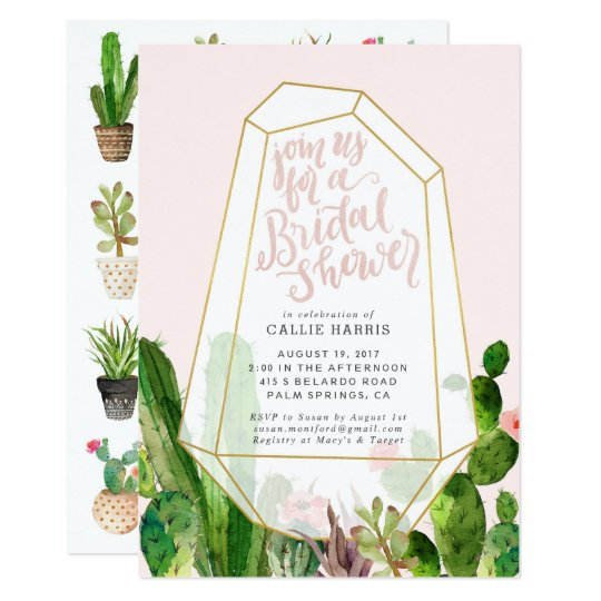 Desert Succulent Bridal Shower Invitation - Pink