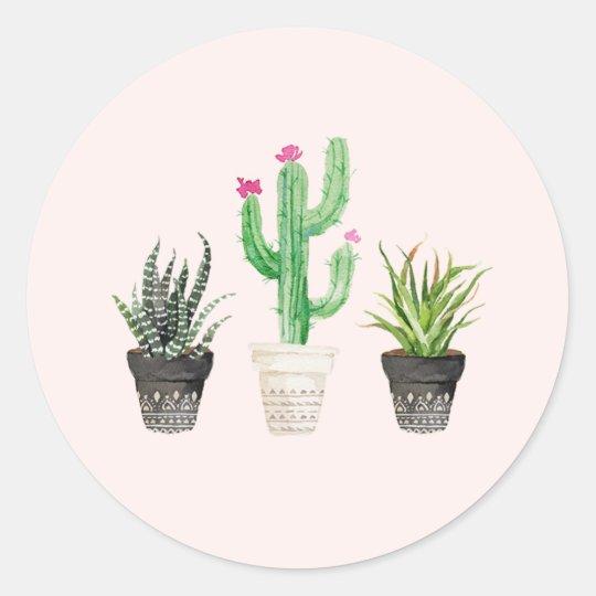 Desert Succulent Cactus Favour Stickers - Pink