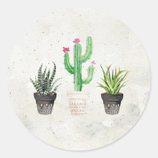 Desert Succulent Cactus Favour Stickers - Stone