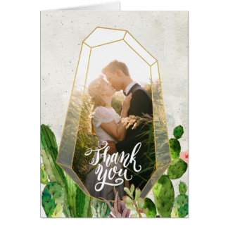 Desert Succulent Thank You Note - Stone Card
